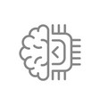 human brain with chip line icon artificial vector image vector image