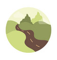 landscape nature valley road mountains flat style vector image vector image