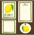 Lemon Menu Pages Card and Tag Design Set vector image vector image