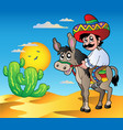 mexican riding donkey in desert vector image