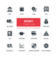 money - line design silhouette icons set vector image vector image