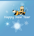 new year greeting card with dog and cat vector image vector image