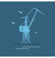 Port Cargo Crane at Sea vector image vector image