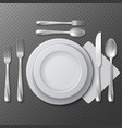 Realistic empty round plate porcelain dish steel vector image