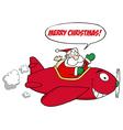 Santa Saying Merry Christmas And Flying A Plane vector image vector image