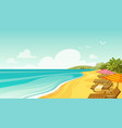 sea beach and sun loungers seascape vacation vector image vector image