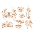 Seafood platter fresh ingredients sketch symbol vector image vector image