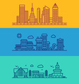 Set of Flat Style Line Art for Modern Buildings vector image vector image