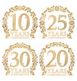 set of golden anniversary seals tenth twentieth vector image