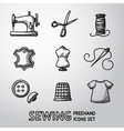 Set of handdrawn sewing icons - machine scissors vector image vector image