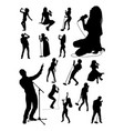 singer gesture silhouettes vector image vector image