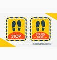 social distance rectangular sticker outdoor vector image vector image