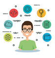 software language programmer avatar vector image