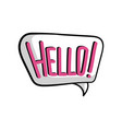 speech bubble with text hello comic text sound vector image