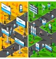 Street Advertising Isometric Banners Set