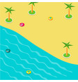 summer concept of sandy beach in isometric vector image vector image