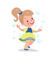 sweet cartoon blonde little girl having fun vector image vector image