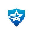 swoosh star shield logo icon vector image