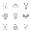 Training icons set outline style vector image vector image