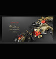 tropical black and gold leaves on dark background vector image vector image