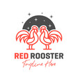 two red rooster outline logo design vector image