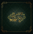 vintage style happy new year card with floral vector image vector image