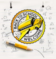 welcome back to school logo school notebook paper vector image vector image