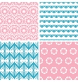 Four abstract pink blue folk motives seamless vector image