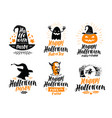 happy halloween lettering holiday greeting card vector image