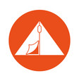 round icon camping tent cartoon vector image