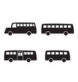 set of big bus icons in simple silhouette style vector image