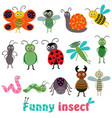 set of isolated with funny insect vector image