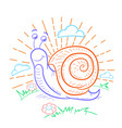 a snail that crawls linear vector image vector image