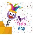 april fools day greeting card emoji smiling with vector image vector image