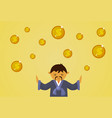 asian man in traditional clothes with dollar coins vector image