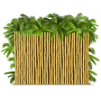Bamboo Fence with Palm vector image vector image