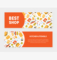 best shop kitchen utensils banner templates set vector image vector image