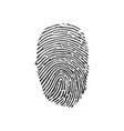 black fingerprint shape secure identification vector image vector image