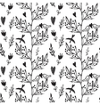 Black seamless pattern with weed flowers and birds vector image