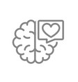 brain with heart in speech bubble line icon vector image