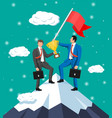 businessman standing on top mountain with flag vector image vector image