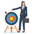 businesswoman and dart target vector image vector image