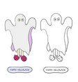 cartoon ghost in badspread on white background