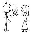 cartoon of man and woman clinking glasses vector image vector image