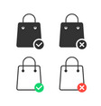 check and cancel purchase with shopping bags vector image