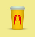 coffee cup with two sleepy man silhouette on it vector image vector image