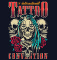 colorful tattoo fest vintage poster vector image vector image