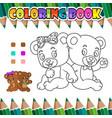 coloring book couple romantic bear vector image vector image