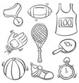 doodle of sport equipment object collection vector image vector image