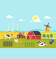 farm with cows and chicken vector image vector image